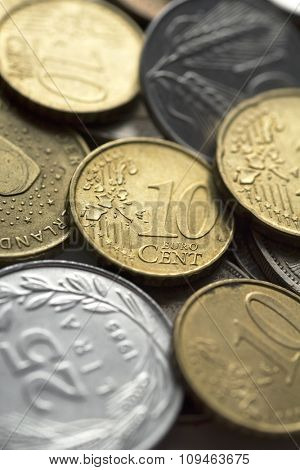 pile of coins (ten euro cents on the top) - shallow DOF