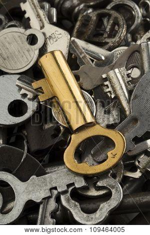 a golden key amid rusty ones