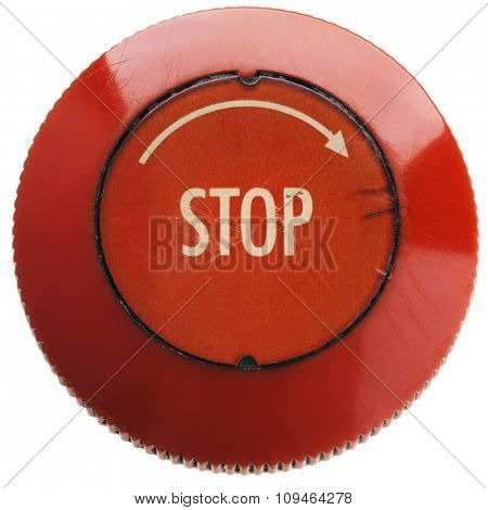 a red 'stop' button on white