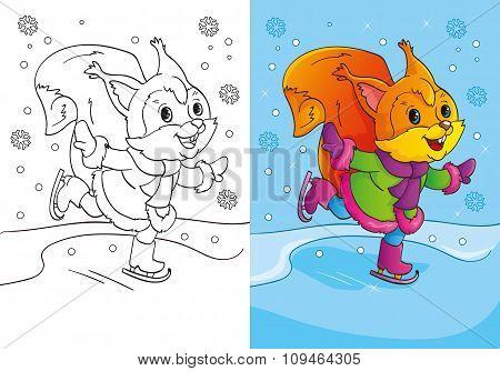 Coloring Book Of Cute Cartoon Squirrel Skates