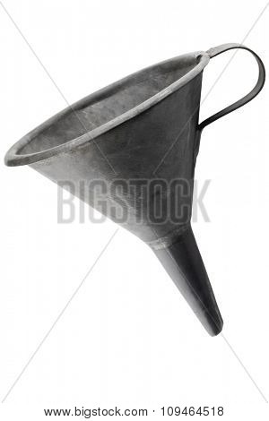 an old funnel on white with clipping path