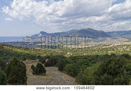 Panorama Of A Small Resort Town In Crimea From The Mountainside