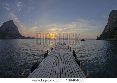 Small Boat Harbor At Dawn.