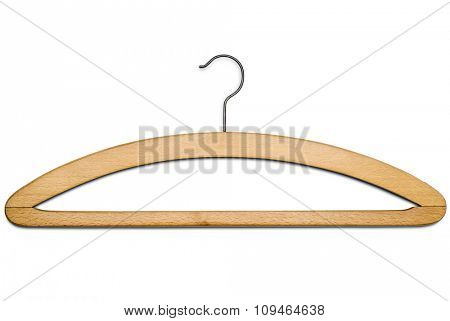 a wooden coat hanger isolated on white with clipping path