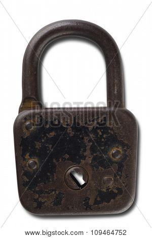 an old and rusty lock on white with the clipping path
