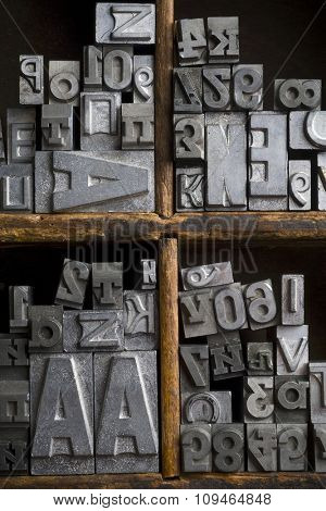 an old lead typeset in wood box