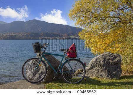 Bicycle At The Lake Shore Tegernsee, Beautiful Autumn Day