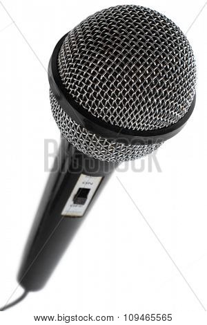 black microphone on white