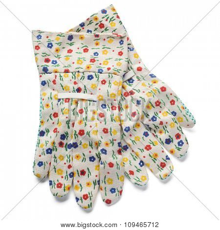 a pair of gardening gloves on white - with clipping path