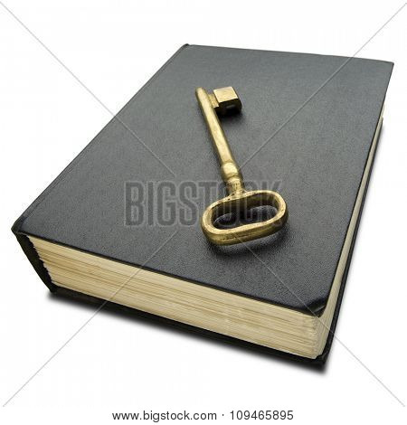 a golden key on thick hard cover black book on white - with clipping path