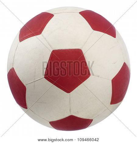 a red and white soccer ball isolated on white