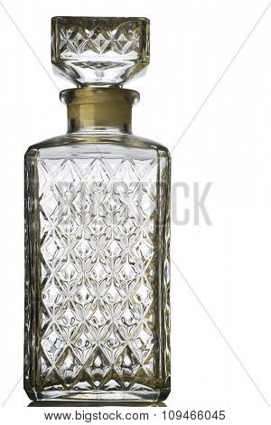 textured crystal bottle on white with clipping path
