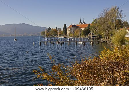 Castle And Brewery At Lake Shore Tegernsee In Autumn