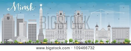 Minsk skyline with grey buildings and blue sky. Business travel and tourism concept with modern buildings. Image for presentation, banner, placard and web site.