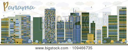 Abstract Panama City skyline with color skyscrapers. Business travel and tourism concept with modern buildings. Image for presentation, banner, placard and web site.