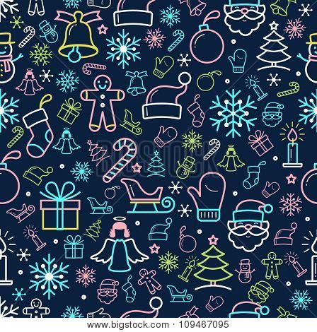 Holiday and Christmas background with icons. Thin line style, flat design