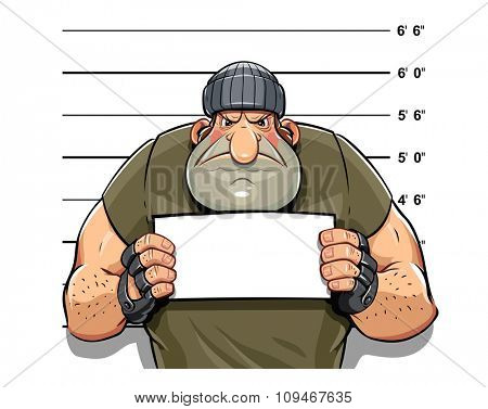 Angry criminal man. vector illustration. Isolated on white background. Transparent objects used for lights and shadows drawing.