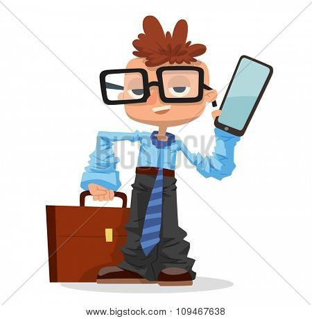 Little schoolboy like businessman with business case, phone, glasses. Kids boy businessman isolated on white background. Business man son fathers clothing. Business kids, business boy vector