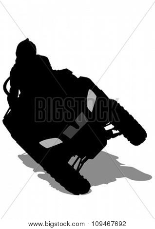 Silhouettes athletes ATV during races