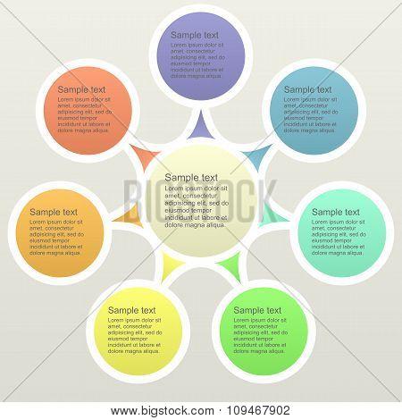 Seven part color business infographics template