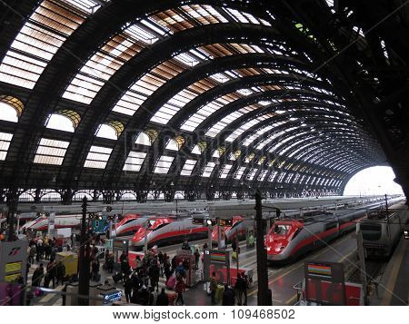 Milano Centrale Railway Station With Frecciarossa Trains