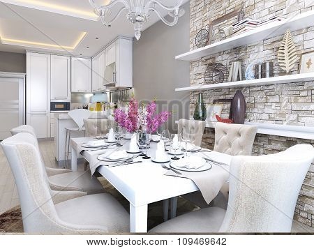 Dining And Kitchen In Neoclassical Style