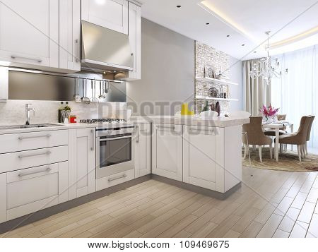 Kitchen Diner In Neoclassical Style
