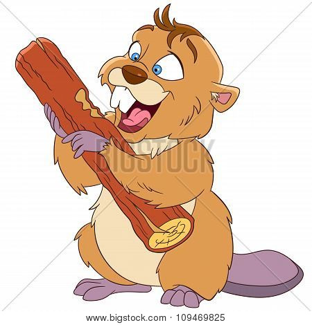 Happy Cartoon Beaver With A Wood Piece