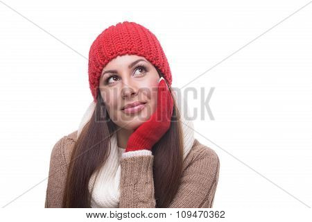 Woman thinking isolated on white.