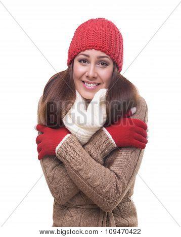 Freezing woman isolated on white.