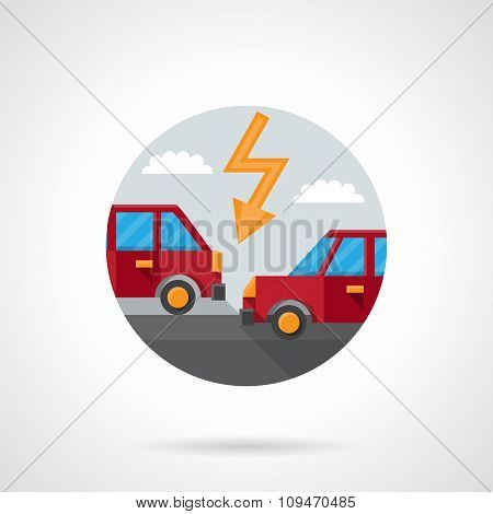 Round flat color car crash vector icon