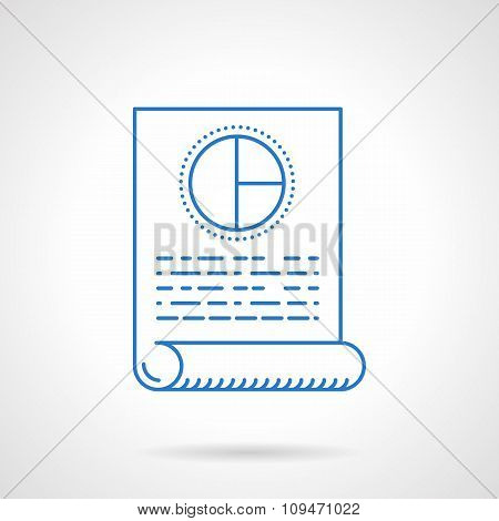 Flat blue line  business plan vector icon