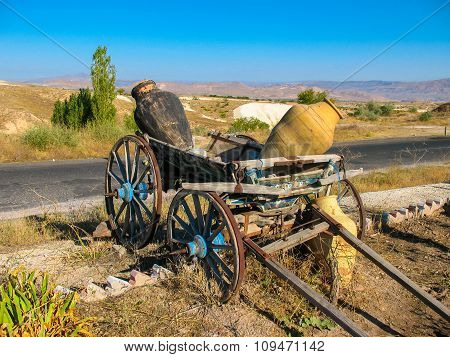 Decorative Cart With Clay Jars, Turkey