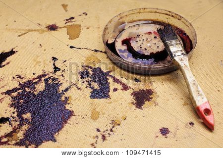 stains from mordants and brush on particleboard
