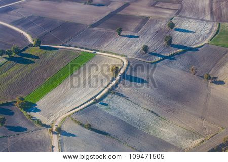 Aerial photography of fields.