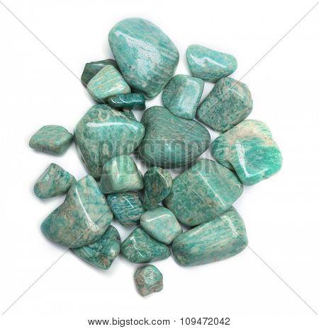 Pile of amazonites isolated on white background