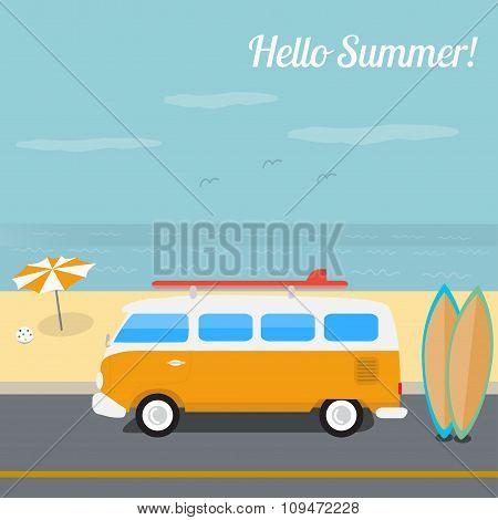 Summer surfing in the ocean beach