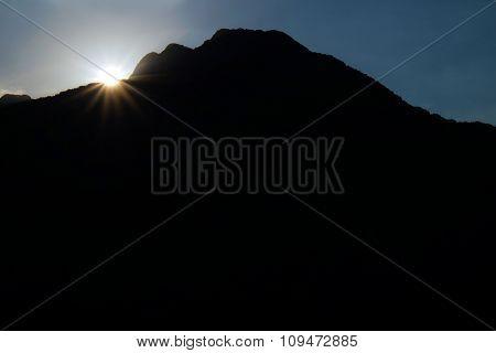 dark mountains on sky background