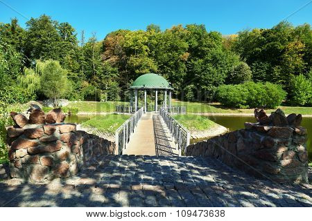 Beautiful park with rotunda and paths in Feofania