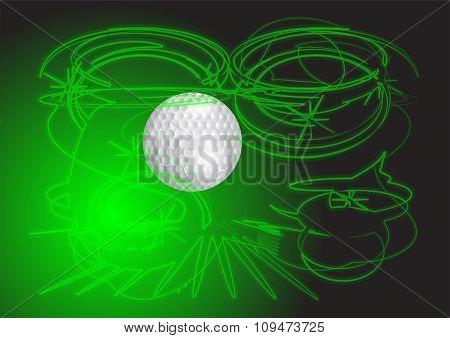 Golf Ball And Neon Swirl