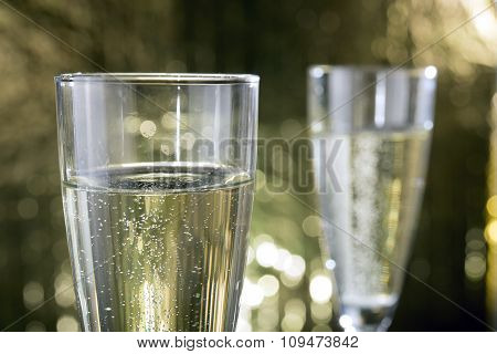 Glasses Of Champagne Very Shallow Depth Of Field Focus On Near Glass.