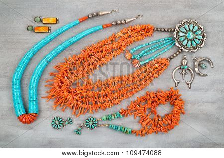 Vintage Turquoise, Branch Coral and Silver, Native American Jewelry.