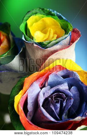 Beautiful bouquet of painted roses on colourful background, close up