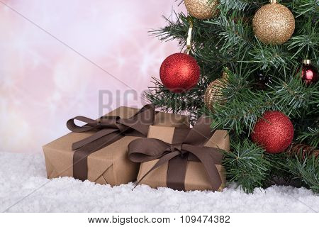 Gift Boxes By A Christmas Tree