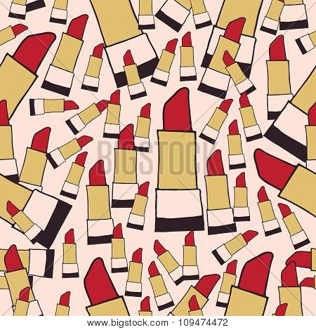 Lipstick seamless pattern vector color