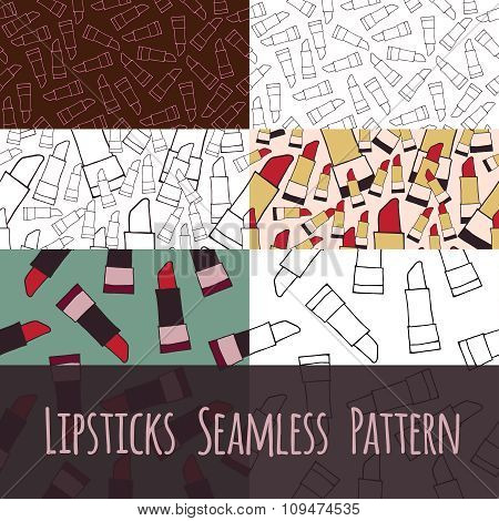 Set seamless pattern liptick vector