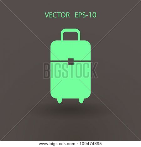 Flat icon of suitcase