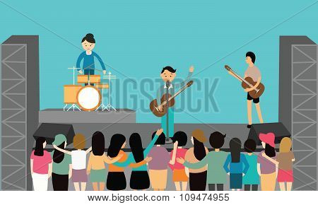 music concert performance flat vector fun playing instrument young