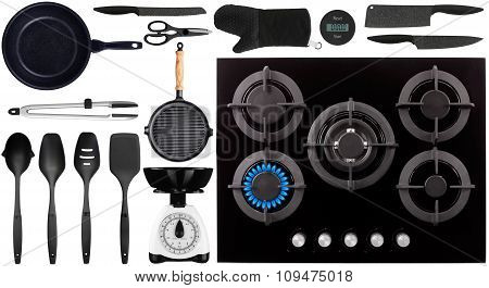 Black Kitchen Utensils On White Background Top View