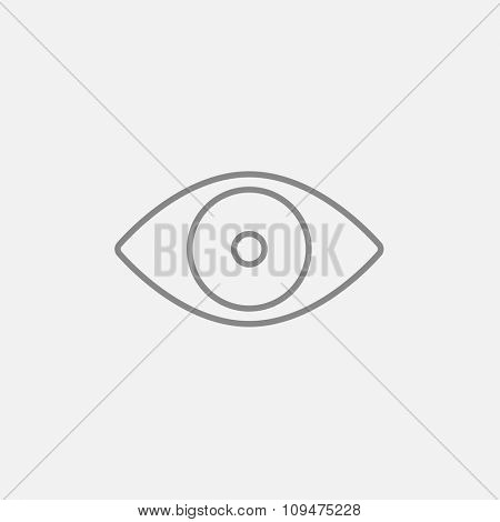 Eye line icon for web, mobile and infographics. Vector dark grey icon isolated on light grey background.
